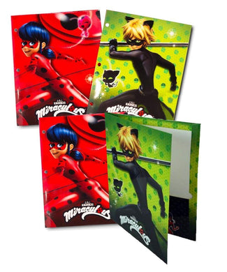 [4-Pack] Miraculous Ladybug Cat Noir 3-Ring Binder Portfolio Pocket Folders