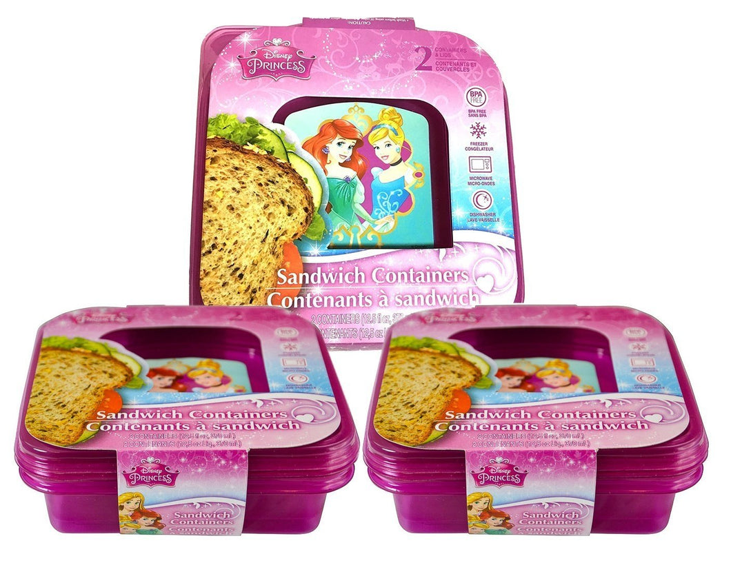 6-Pack Disney Princess Reusable Pink Sandwich Containers