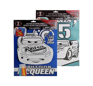 "2-Pack Disney-Pixar Cars Glitter Coloring 11x15"" Poster Sheet with Markers"