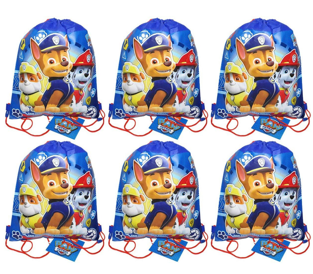 [6-Pack] Paw Patrol 14-inch Sling Bags Drawstring Cinch Sack Totes, Blue