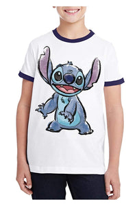 Disney Stitch Watercolor Youth T-Shirt, White & Navy Ringer Tee