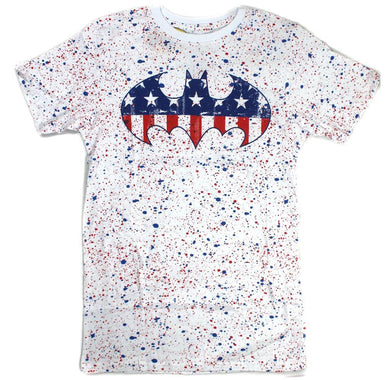 DC Comics American Flag Batman Logo Splatter Men's Graphic T-Shirt, Red White Blue