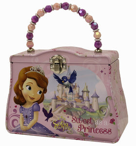 Disney Sofia The First Carry-All Tin Purse or Small Metal Snack/Lunch Box with Beaded Handle