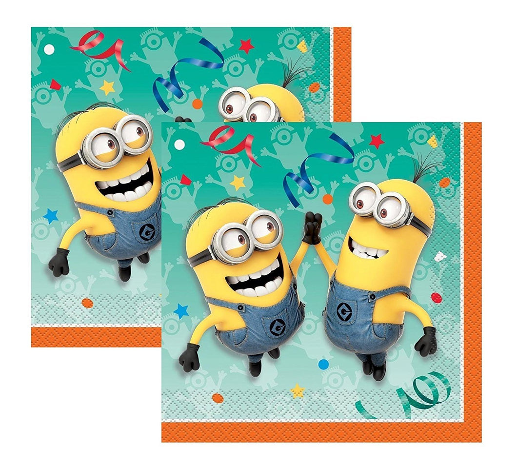 [2-Pack Bundle] Despicable Me Minions Party Dinner 16ct Napkins (32 total)
