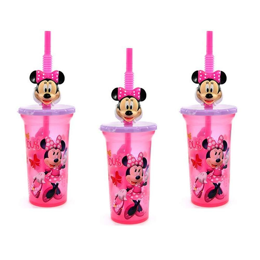 [3-Pack] Disney Minnie Mouse 15oz Buddy Sip Tumbler Cup with Lid & Straw, BPA-Free
