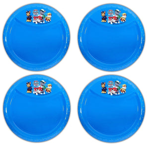 "4-Pack Paw Patrol BPA-Free Plastic Reusable Kids 8.5"" Diamond Rim Plate, Blue"