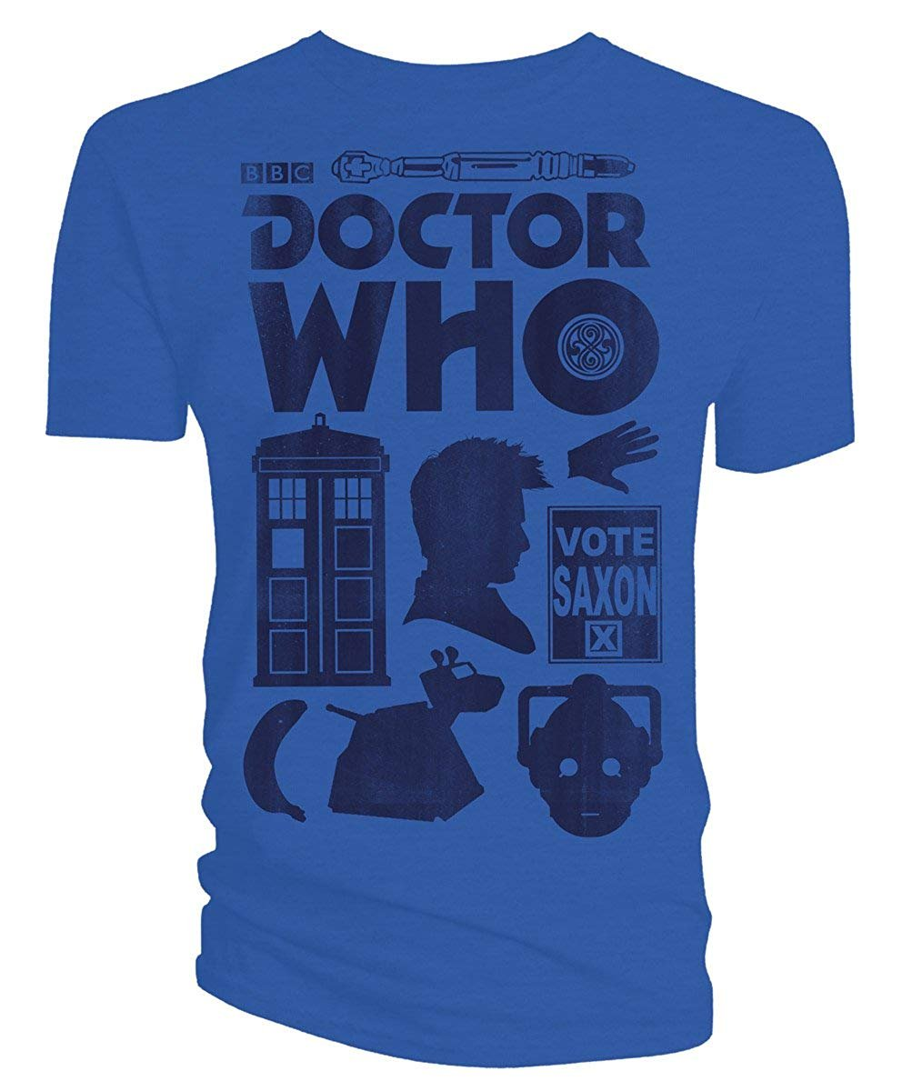 Doctor Who 10th Doctor David Tennant Vector Icons Distressed Men's T-Shirt, Blue