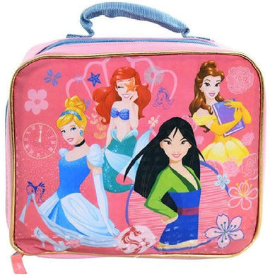 Disney Princess Insulated Lunch Box Bag w/ Handle: Belle, Mulan, Ariel, Cinderella