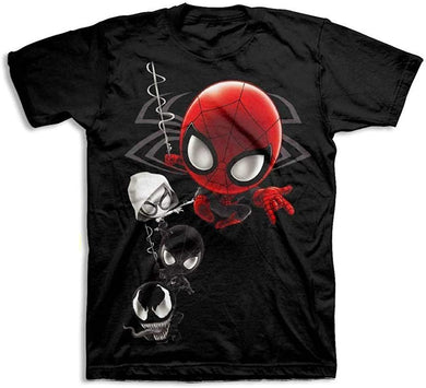 Marvel Spider-Man Spider-Verse Chibi Team Up Men's T-Shirt, Black (Large)