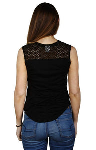 Poison Rock Band Crochet-Back Junior's Graphic Tank Top T-Shirt, Black
