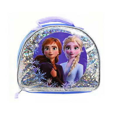 Disney Frozen II Foil Sparkle Dome Shaped Insulated Lunch Bag, Blue/Silver