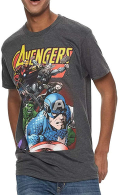 Men's Retro Marvel Avengers Character T-Shirt, Charcoal Grey (Medium)