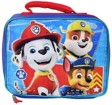 Paw Patrol Marshall, Rubble & Chase Insulated Lunch Box Bag, Blue/Red