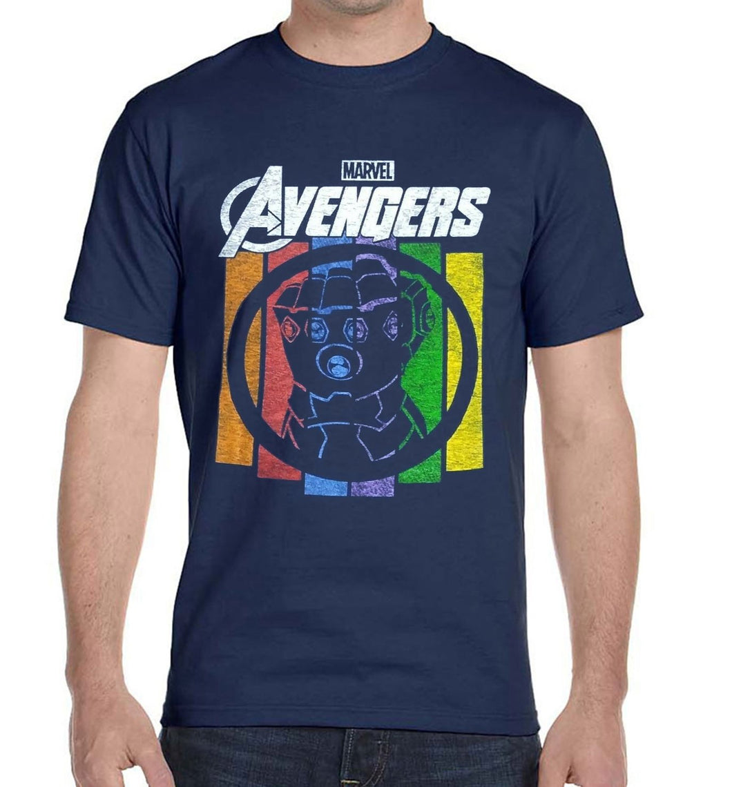 Marvel Avengers Infinity War/End Game Thanos Gauntlet Glove Men's T-Shirt, Navy