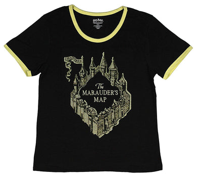 Harry Potter The Marauders Map Embroidered Women's Juniors Ringer T-Shirt Black