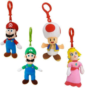4-Piece Set Super Mario World of Nintendo Clip on Plush Figures: Mario, Luigi, Toad & Peach