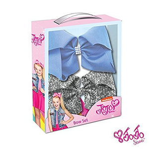 JoJo Siwa Signature Collection Hair Bow Box Set: Silver Sequin & Vista Blue