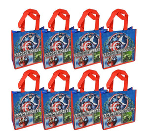 "8-Pack Marvel Avengers Assemble Reusable 10"" Tote/Goody Bag with Glossy Printing"