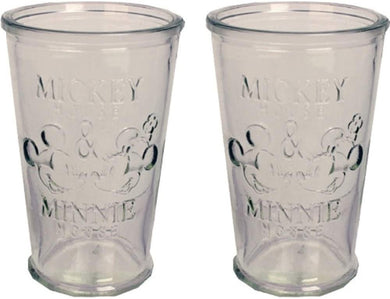 Disney Mickey & Minnie Mouse Farmhouse 16oz Glass Tumbler Drinking Cup Set, 2pc