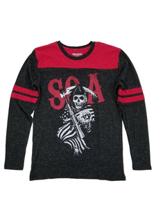 Sons of Anarchy Grim Reaper Long Sleeve Graphic T-Shirt, Black/Red