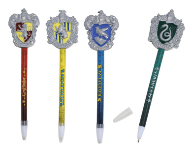 [4-Pack] Harry Potter Hogwarts House Crest Molded Topper Pen Set