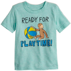 Toddler Boy Jumping Beans Curious George Short Sleeve Graphic Tee, Mint Green