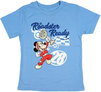 Disney Mickey Mouse Roadster Ready #28 Cartoon Toddler T-Shirt, 2T Blue