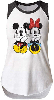 Disney Youth Girls Front & Back Mickey & Minnie Mouse Sitting Sleeveless Raglan Tank Top