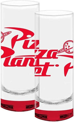 Disney-Pixar Toy Story Pizza Planet Red Colored Bottom Glass Tall Shot Glasses, 2-Piece Set