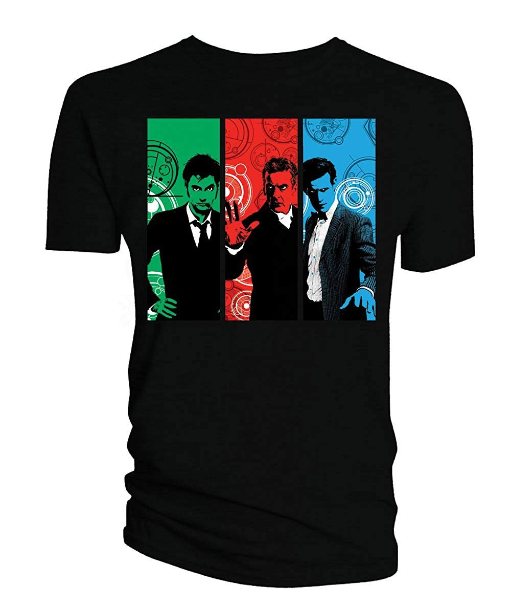 Doctor Who 10th-12th David Tennant Matt Smith Peter Capaldi Junior's T-Shirt, Black