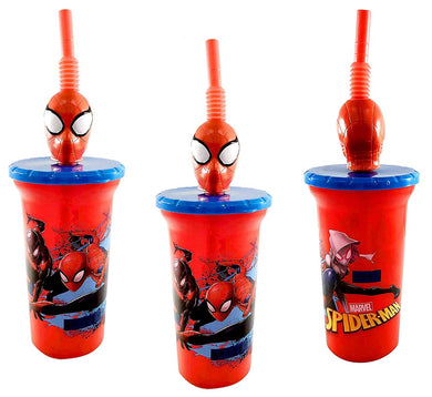 [3-Pack] Marvel's Spider-Man 15oz Buddy Sip Tumbler Cup with Lid & Straw, BPA-Free