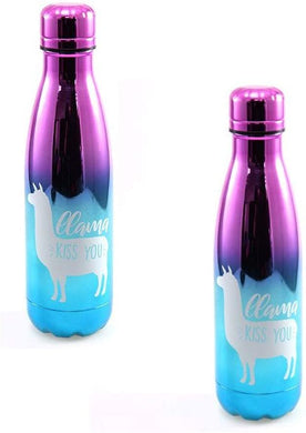 [2-Pack] Llama Kiss You Stainless Steel 20oz Water Bottle, Pink/Blue Ombre