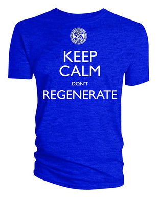 Doctor Who Time Lord Keep Calm Don't Regenerate Men's Royal Blue T-Shirt