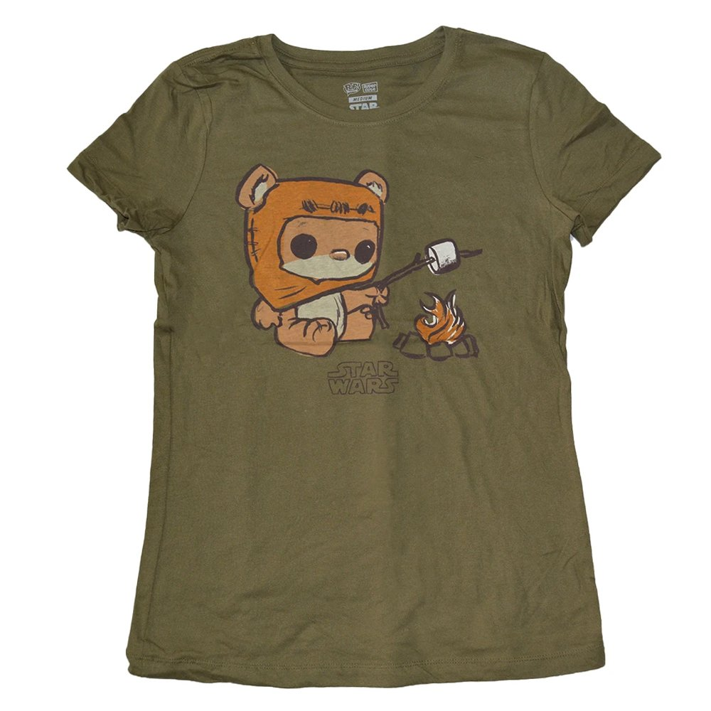 Star Wars Ewok Campfire Funko POP Super Cute Tees Juniors' T-Shirt, Olive, L
