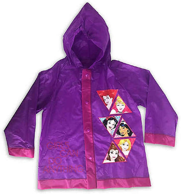 Disney Princess Toddler Girls Raincoat Rain Poncho with Hood, Size 2T-4T Purple & Pink