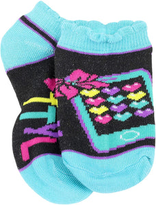 Nickelodeon Girl's Jojo Siwa 5 Pack Socks, Sock Size: 4-6 (Shoe Size: 7-10), Black/Blue