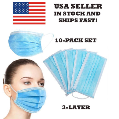 10 PACK SET Disposable 3-Layer Protective Face Mask Surgical Cover NEW