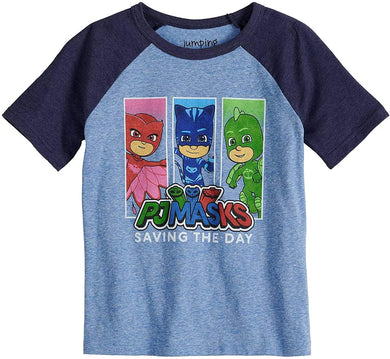 Jumping Beans PJ Masks Saving The Day Boys Raglan Graphic Tee, Blue Heather/Navy