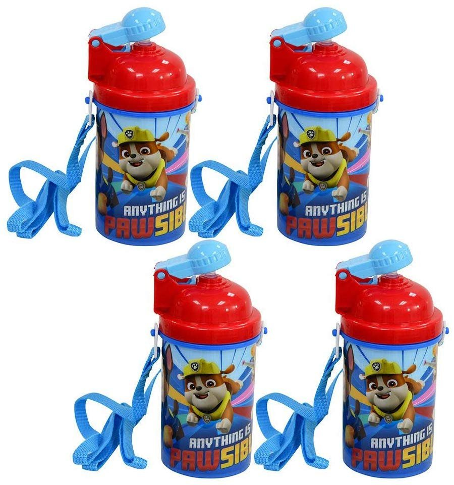 [4-Pack] Paw Patrol Kids 12oz Pop-up Lid Canteen Water Bottles with Carrying Strap