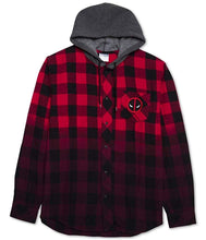 Marvel Comics Deadpool Men's Flannel Plaid Checkered Hoodie Sweatshirt, Red/Black