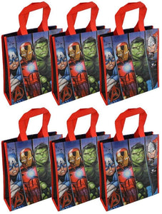 Marvel [6-Pack The Avengers Reusable 12-inch Tote Bags/Party Favor/Gift Bags with Handles