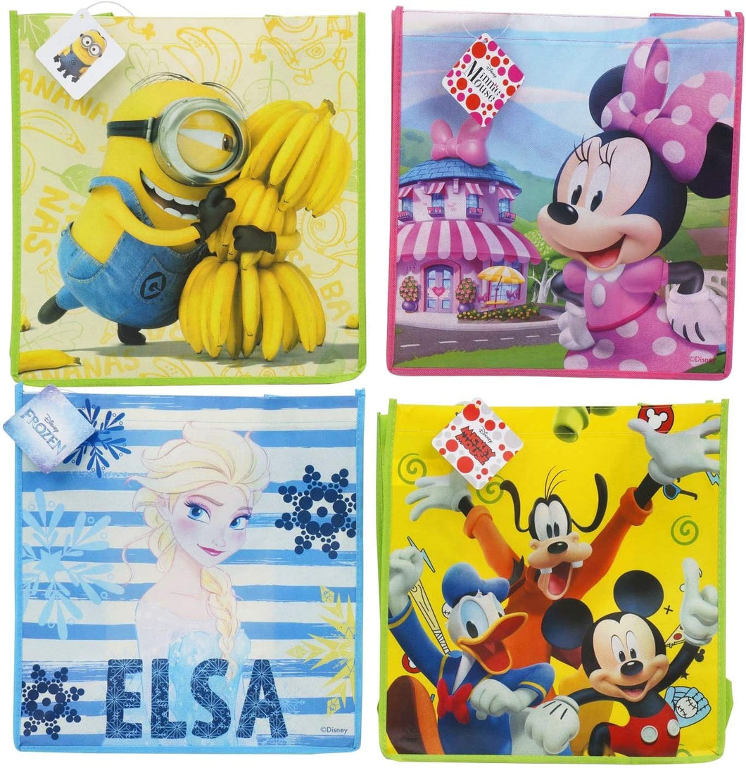 [4-Pack] Disney Frozen, Mickey & Friends, Minnie Mouse, & Minions 13-inch Reusable Totes, Party Favor or Gift Bags with Handle