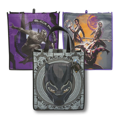 [3-Pack] Marvel Black Panther Large 15-inch Reusable Shopping Tote or Gift Bags