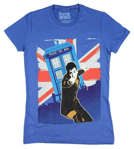 Doctor Who 10th Doctor David Tennant Union Jack Junior's T-Shirt, Royal Blue