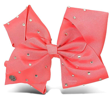 JoJo Siwa Signature Collection Large Hair Bow, Coral Pink with Rhinestone Studs
