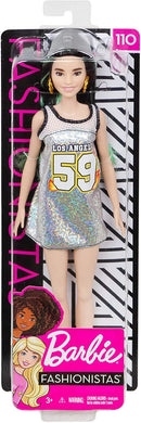 Barbie Fashionistas Doll with Green Streaks in Long Brunette Hair, Wearing Glittery Tank Dress and Accessories, for 3 to 7 Year Olds