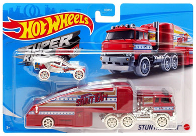 Hot Wheels Super Rigs Stuntin' Semi Die Cast Vehicle, Red White