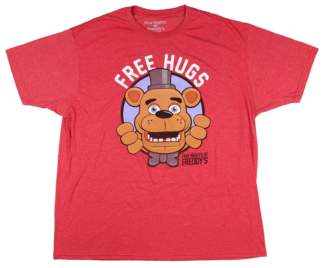 Five Nights at Freddy's Free Hugs Freddy Fazbear Men's Graphic T-Shirt, Red