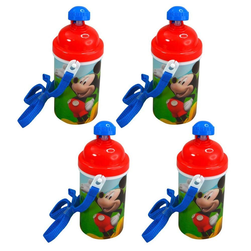 [4-Pack] Disney Mickey Mouse Kids 12oz Pop-up Lid Canteen Water Bottles with Carrying Strap