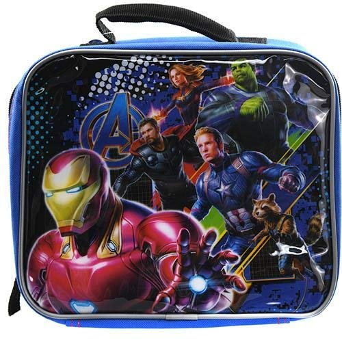 Marvel Avengers Soft Insulated Lunch Bag Box with Handle (Blue/Black)